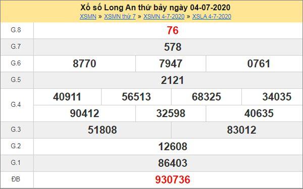 Dự đoán XSLA 11/7/2020 chốt KQXS Long An thứ 7
