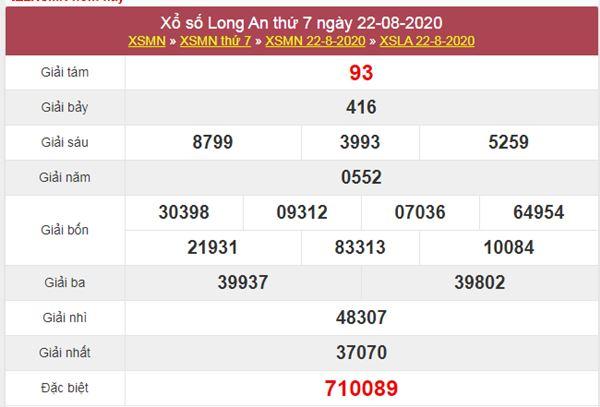 Thống kê XSLA 29/8/2020 chốt KQXS Long An thứ 7