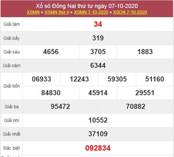 Thống kê XSDNA 14/10/2020 chốt lô VIP Đồng Nai thứ 4